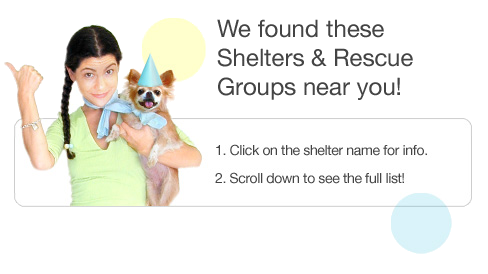 We found these Shelters & Rescue Groups near you!
